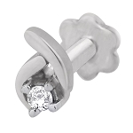 Diamond Nose Stud 0.05Ct Round Shape Natural Certified Solid White Gold